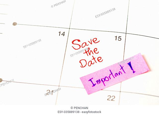 Save the date with Important sticky note