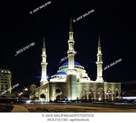 Mohammad Al Amin Mosque landmark in central Beirut city lebanon at night