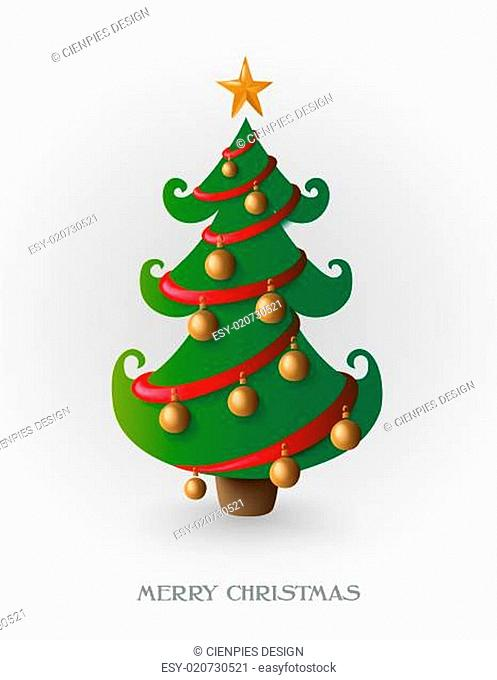 Merry Christmas tree with gold baubles EPS10 file