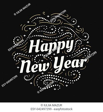 Merry Christmas and a Happy New Year hand drawn lettering inscription with abstract curls, dots for winter holiday design, calligraphy vector illustration