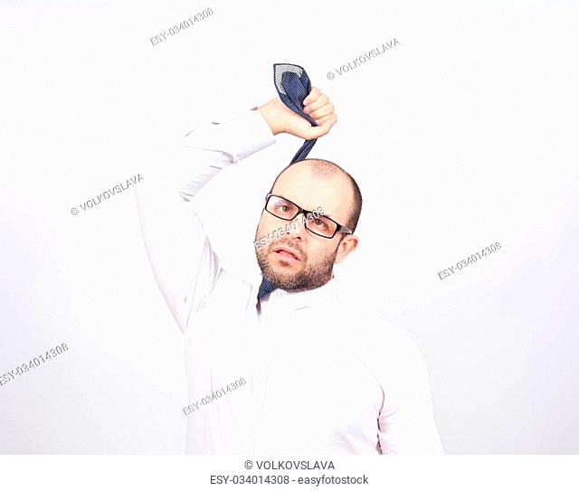 Suicidal businessman strangling himself tie. Isolated on white background