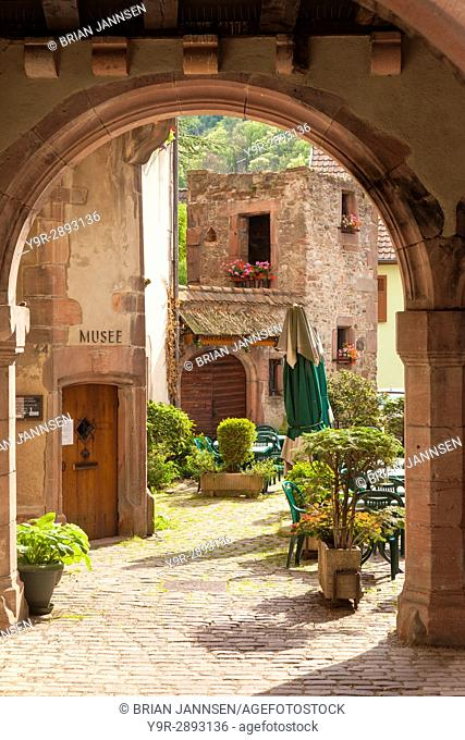 Arched entry to courtyard and Musee Historique, Kaysersberg, Alsace, France