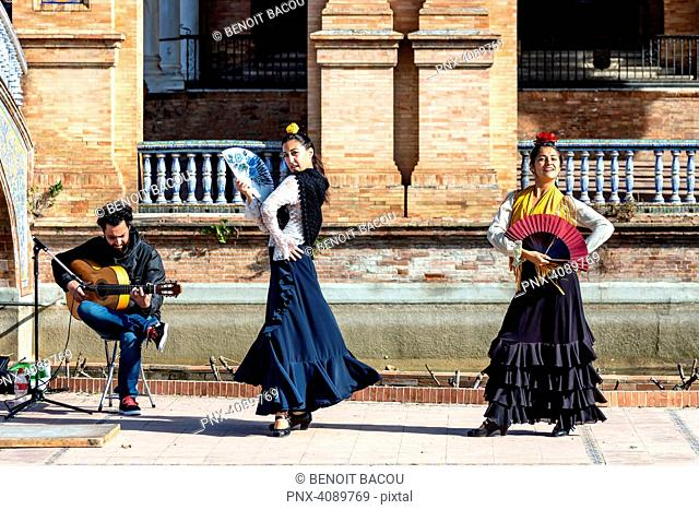 Seville, Spain - January 11, 2017 - Flamenco dancer on the Spanish Steps, Seville, Andalusia, Spain, Western Europe