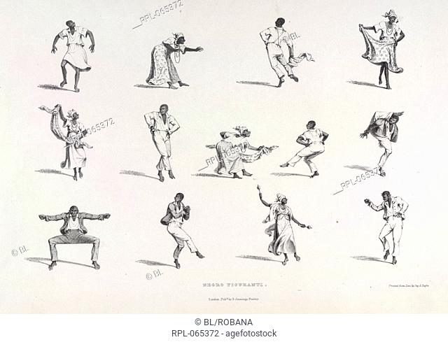 Negro Figuranti, Figures showing various types of Negro dance. Image taken from West India Scenery, with illustrations of negro character