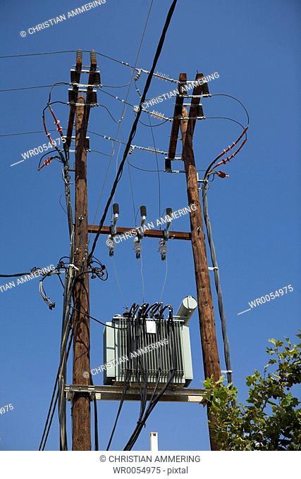 Wooden power pole