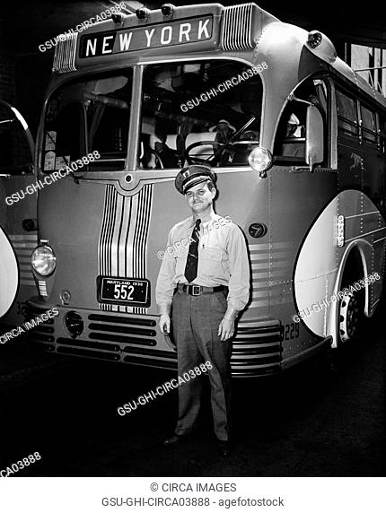 Greyhound Lines Bus Driver Standing next to Bus Headed for New York, Harris & Ewing, 1937