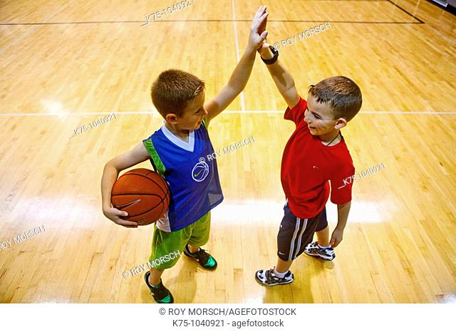 high five after basketball