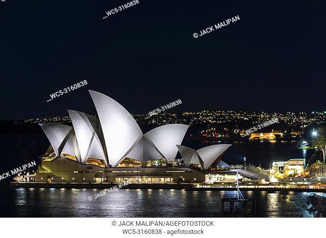 view of sydney opera house landmark exterior at night in australia