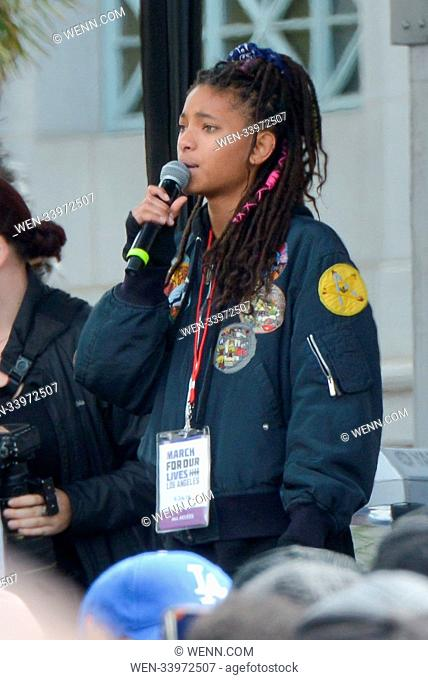 """Willow Smith attending the """"""""March For Our Lives"""""""" in downtown Los Angeles. Featuring: Willow Smith Where: Los Angeles, California"""