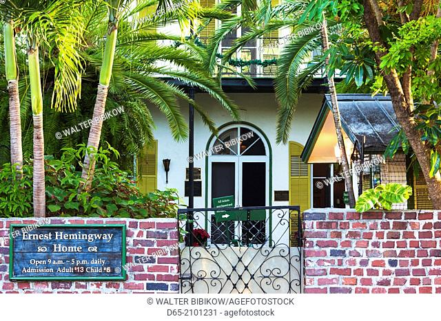 USA, Florida, Florida Keys, Key West, Hemingway House, former residence of famous American writer, exterior