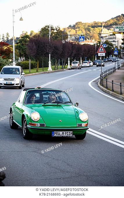 Porche car, Stresa, Lake Maggiore, Piedmont, Italy