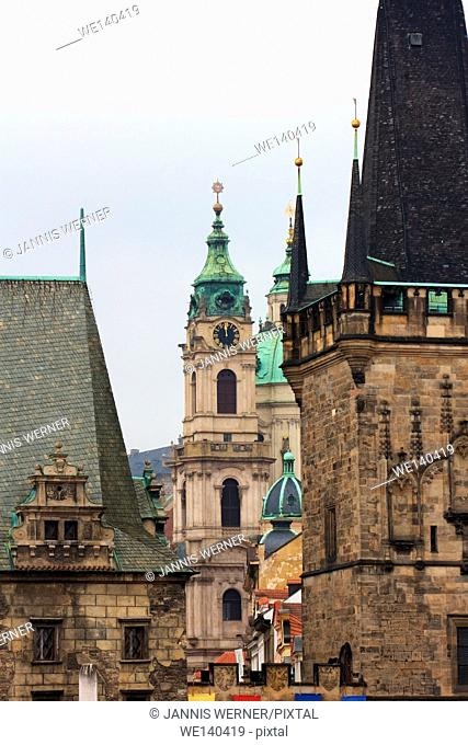 View among historic towers in Prague, Czech Republic