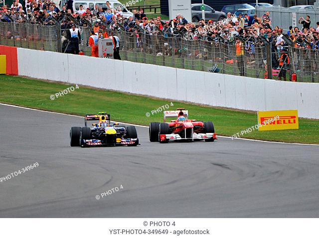 Race, Mark Webber and Fernando Alonso, British Grand Prix, Silverstone, England