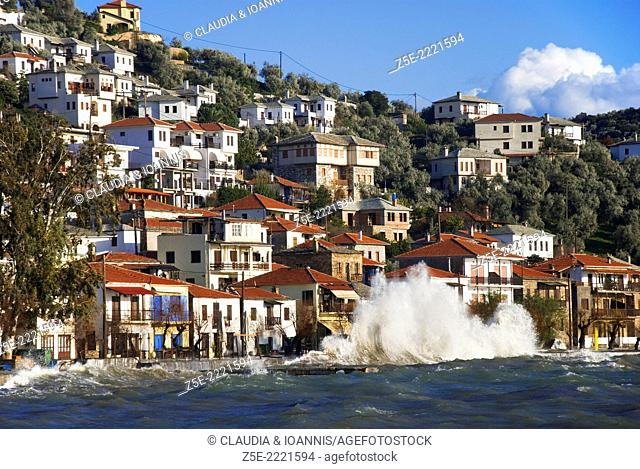 The village of Afissos at the Pagasitic Gulf, Pelion Peninsula, Thessaly, Greece, at a stormy day