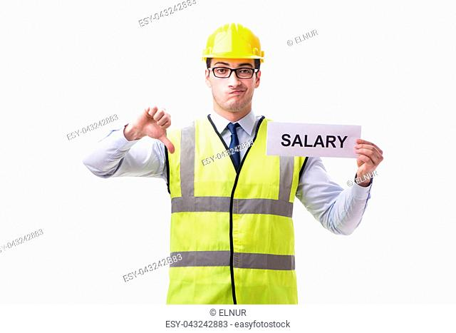 Construction supervisor asking for higher salary isolated on white background