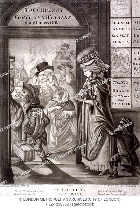 'The Lottery Contrast', 1760. The entrance to Touchpenny, Fortune and Winall's State Lottery Office; clerks are at a table within; oyster woman exulting over...