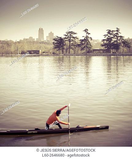 Boat on lake, Casa de Campo park, Madrid, Spain
