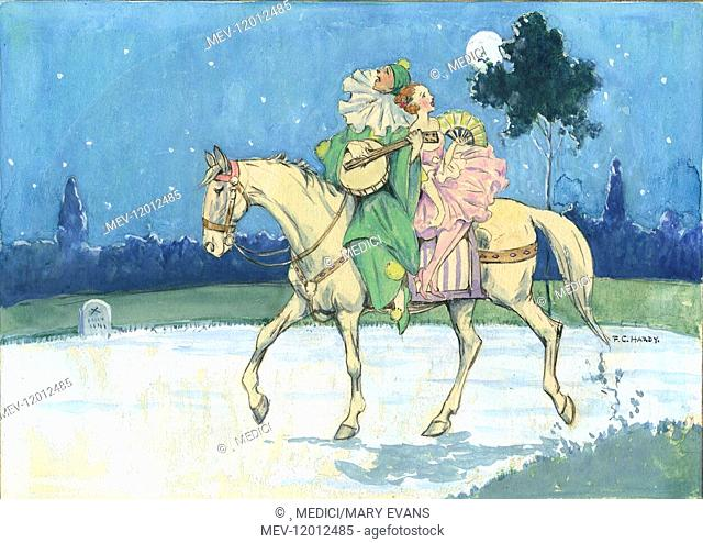 Pierrot with banjo and girl with a fan riding on a white horse by moonlight