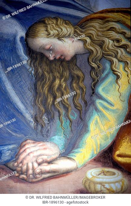 Mary Magdalene anointing Jesus' feet, the Feast of Simon Pharisee, fresco from 1450, detail, St. Sigismund, Cremona, Lombardy, Italy, Europe