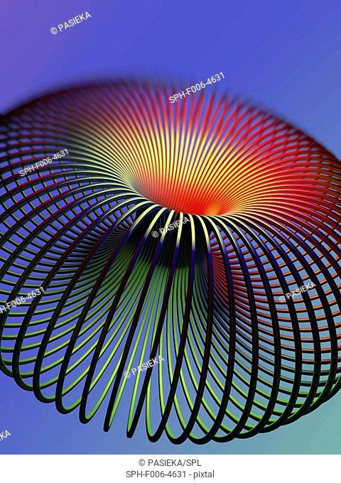 Torus. Computer artwork of a torus. A torus is a mathematical surface with the shape of a doughnut