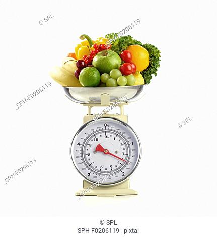 Fresh produce on the weighing scales