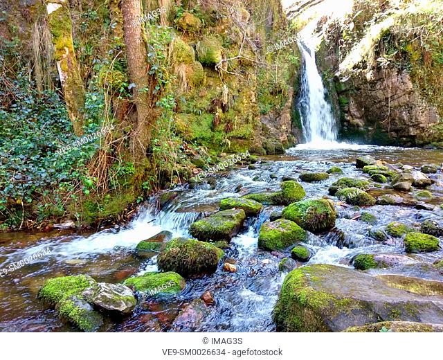'Chorrón' waterfall, Villamayor, Piloña municipality, Asturias, Spain