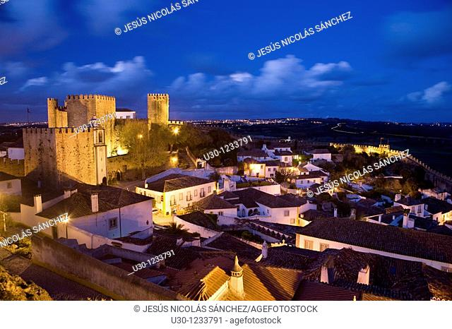 Night view of the Historic Village of Obidos, in Estremadura  Leiria District  Center Region  Portugal