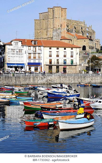 Small boats in a harbour, Santa Maria Church, Castro Urdiales, Gulf of Biscay, Cantabria, Spain, Europe