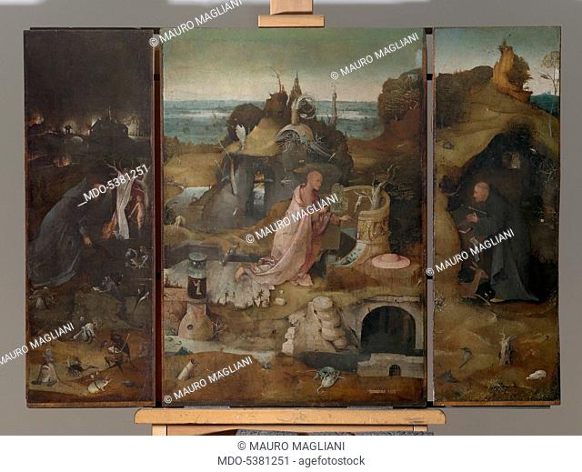 Hermit Saints Triptych, by Joren Anthoniszoon Van Aeken known as Bosch Hieronymus, 1493 about, 15th Century, oil on panel, cm 86,5 x 60each panel