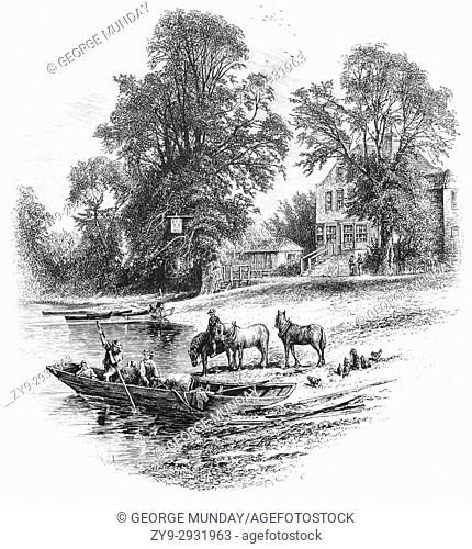 """1870: A small Ferry near the Bells of Ouseley Pub on the River Thames at Old Windsor, Berkshire, England. The """"""""Bells of Ouseley"""""""" is supposed to commemorate..."""