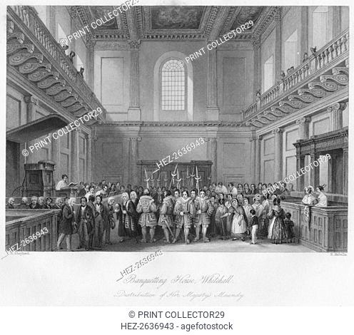 'Banqueting House, Whitehall. Distribution of Her Majesty's Maundy', c1841. Artist: Henry Melville