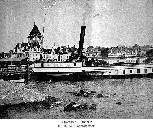 One of the first autotypes of Ouchy-Lausanne, Switzerland, historical photograph, 1884