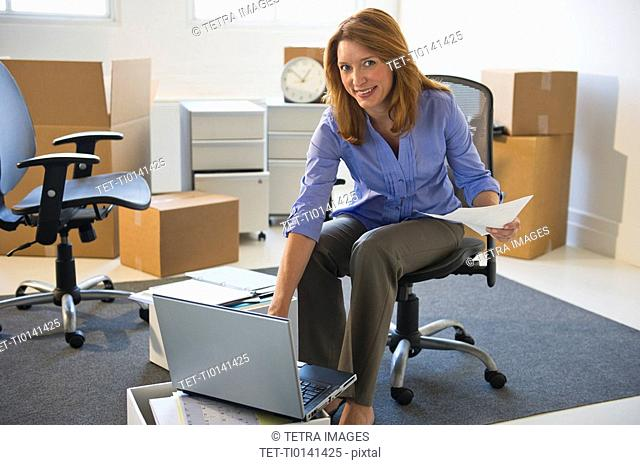 Business entrepreneur working in startup office