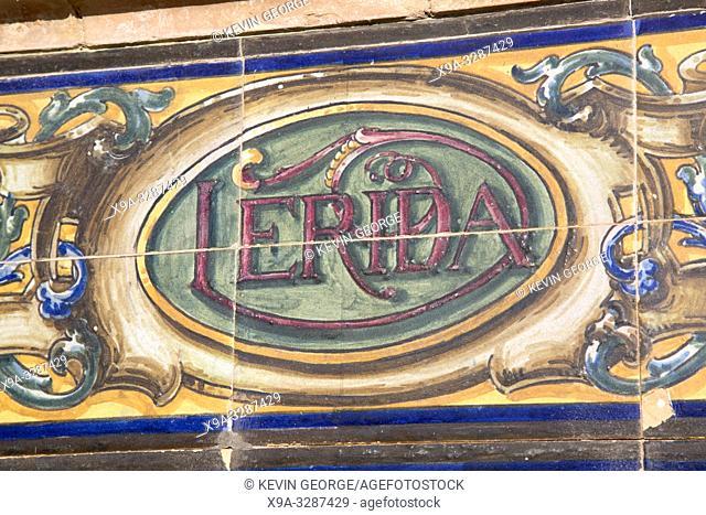 Lerida Sign; Plaza de Espana Square; Seville; Spain