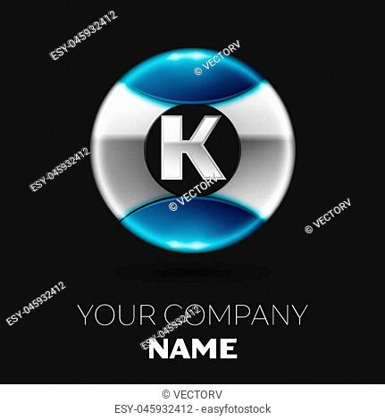 Realistic Silver Letter K logo symbol in the silver-blue colorful circle shape on black background. Vector template for your design