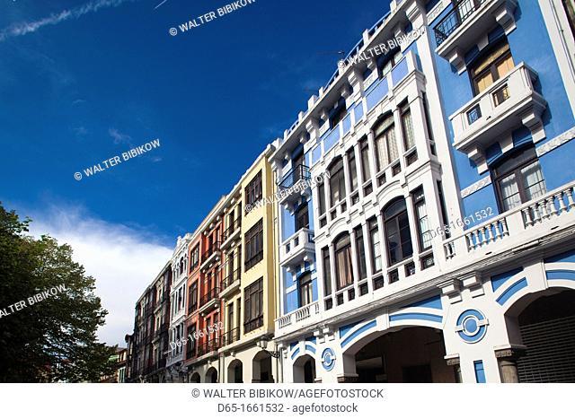 Spain, Asturias Region, Asturias Province, Aviles, Old Town buildings and cafes