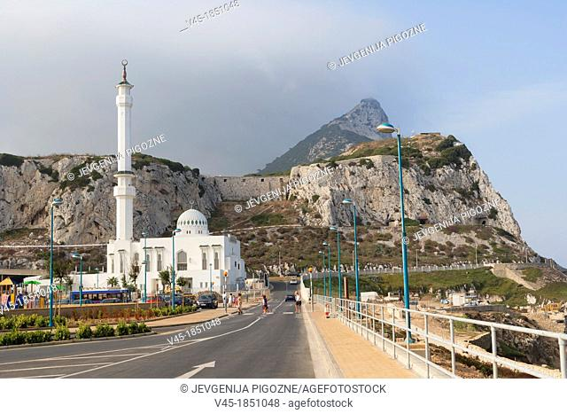 The Ibrahim al Ibrahim Mosque, the King Fahd bin Abdulaziz al Saud Mosque, the Mosque of the Custodian of the Two Holy Mosques against Rock of Gibraltar