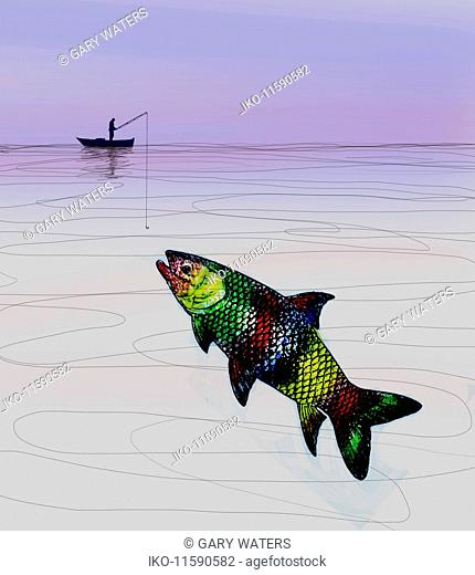 Man trying to catch large multicolored fish