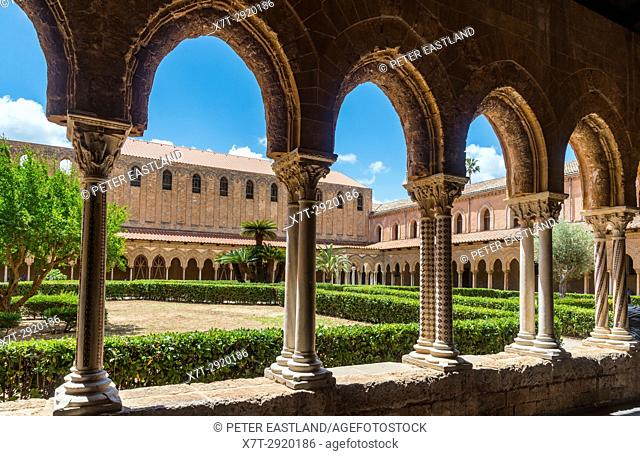 The Chiostro dei Benedettini, cloisters, in the cathedral complex at Monreale near Palermo, Sicily, Italy
