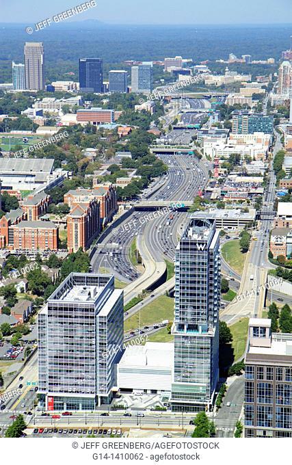 Georgia, Atlanta, Westin Peachtree Plaza, Sun Dial Restaurant, revolving, view, building, skyline, street, James Wendell George Parkway, 'W Hotel'