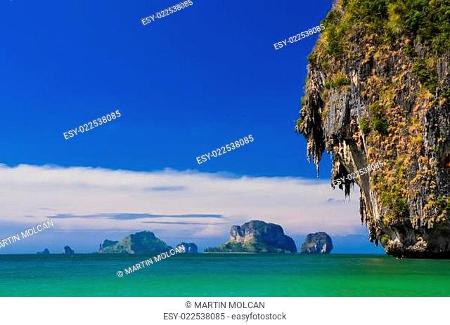 Ocean coast landscape with cliffs and islands at Andaman sea