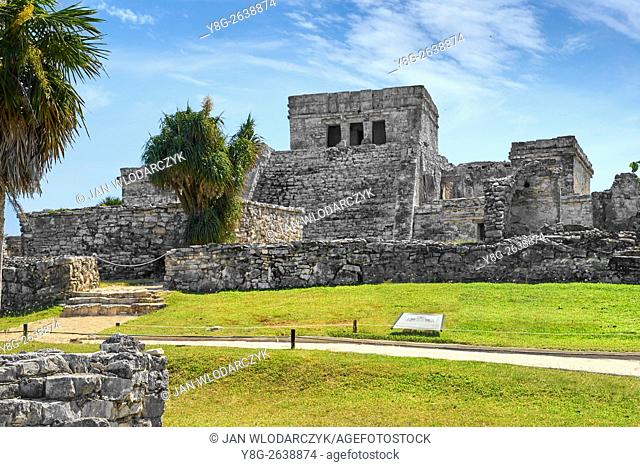 Ancient Maya Ruins, Main Temple of Tulum, Yucatan Peninsula, Mexico