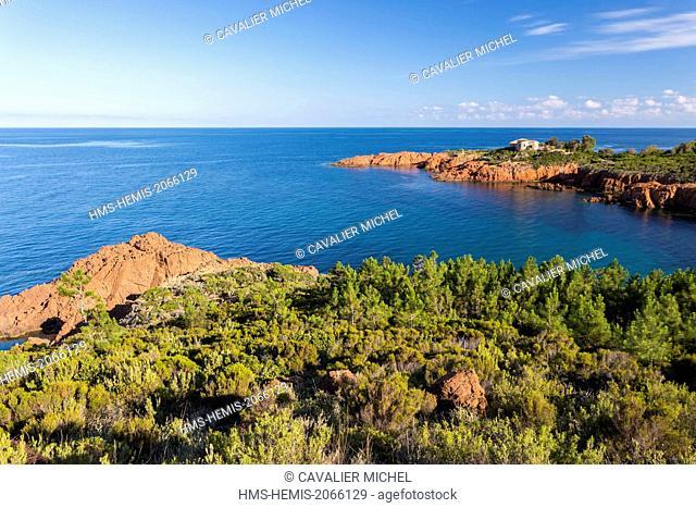 France, Var, Corniche de l'Esterel, Saint Raphael, Le Trayas, creek of Pointe du Cap Roux