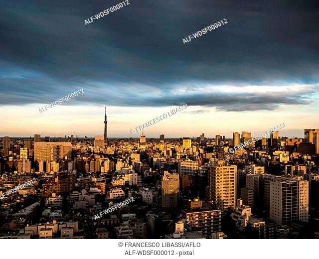Dramatic sky over Tokyo cityscape before sunset, Tokyo, Japan