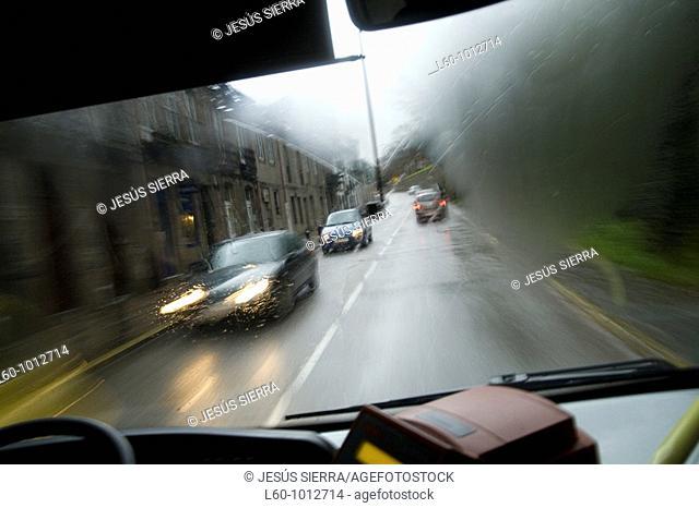 Traffic, Santiago de Compostela, La Coruña province, Galicia, Spain