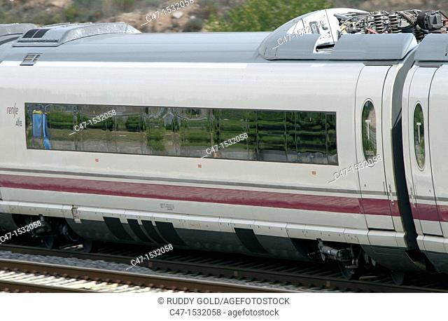 Spain, Catalonia, Lleida province, High Speed Train, AVE Serie 103 going out of Vinaixa viaduct