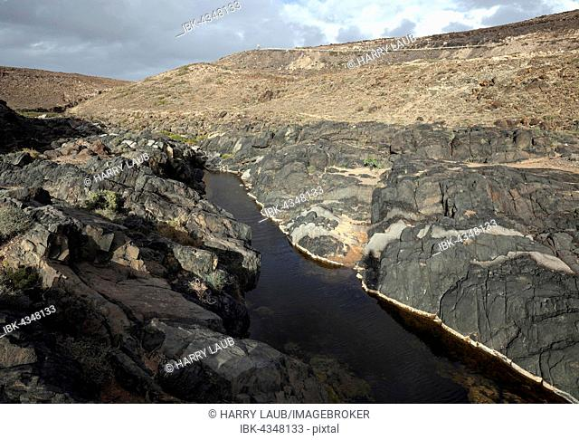 River in the Barranco de los Molinos, at Los Molinos, Fuerteventura, Canary Islands, Spain