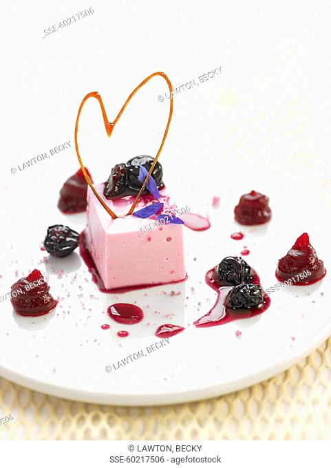 Sweet beetroot mousse with stewed summer fruit