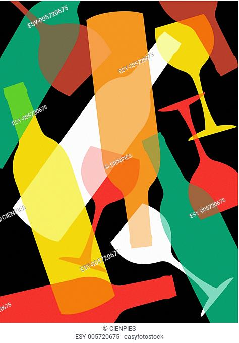 Wine bottles and wineglasses background