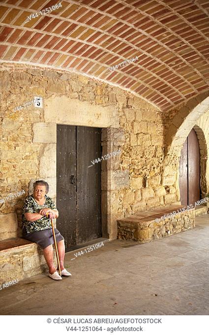 Main Square of the medieval village of Peratallada Costa Brava. Girona, Catalunya. Spain
